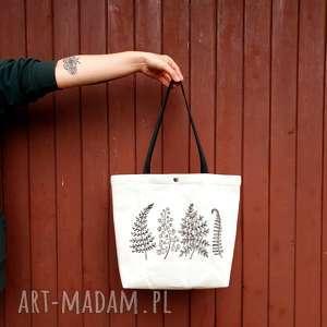 płócienna shopperka z haftem paprotek, shopperka, płócienna, ekologiczna, leśna