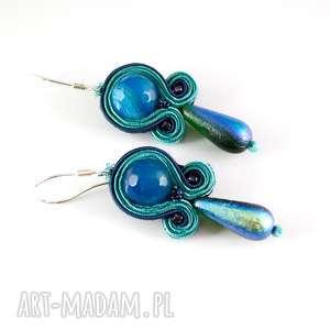 turkusowe małe kolczyki sutasz, niewielkiemorskie na co dzień - haft