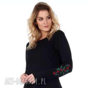Czarna sukienka z haftowanymi rękawami, sukienka, tunika, kieszenia, dzianina