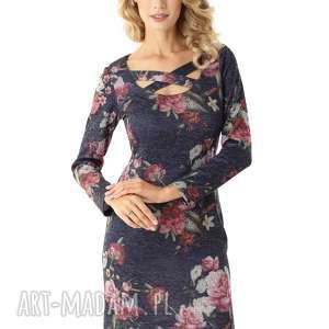 Dopasowana sukienka z paskami Emily granatowa w kwiaty, elegancka-sukienka