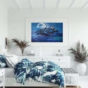 biała noc obraz ręcznie malowany na płótnie 80x60 cm, góry obraz
