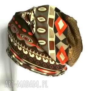 czapka damska bawełna dzianina orient boho bieganie - etno, boho, wzory, kolorowa
