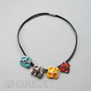 naszyjnik kwiatowa kolia - naszyjnik, biżuteria, ceramika, rzemień, kobiecy