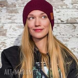 czapki czapa dwustronna logo z ekoskórki zadziorne bordo, czapka beanie