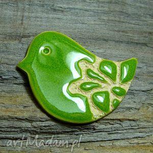 broszka zielony ptaszek - ptaszek, broszka, ludowa, folkowa, błyszcząca, urocza