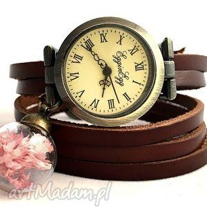 Subtelny róż - Zegarek/bransoletka na skórzanym pasku, zegarek, bransoletka, kwiatki