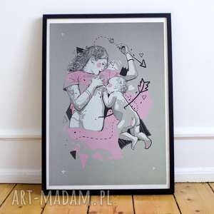 Piękna grafika matka z dzieckiem - sitodruk kufer nieba obraz