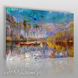 obrazy obraz na płótnie - pejzaż góry 120x80 cm 30701, pejzaż, krajobraz, łódź