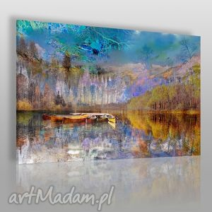Obraz na płótnie - PEJZAŻ GÓRY 120x80 cm (30701), pejzaż, krajobraz, łódź, góry