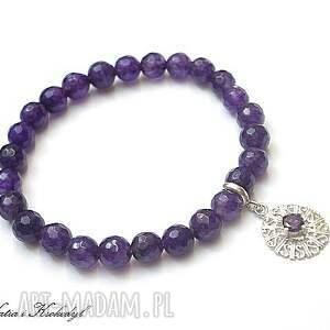srebro 925. koronkowa - purple, srebro, cyrkonia, jadeity, kamienie