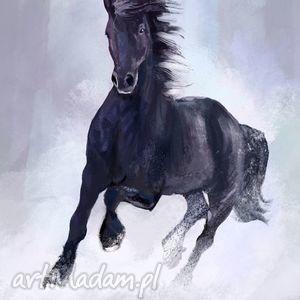 obraz - czarny koń płótno malowany, obraz, koń, konie, płótno, konik