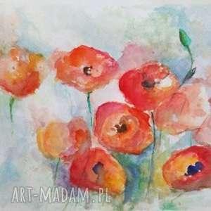akwarela - makowa łąka ii 32/24 cm, abstrakcja, obraz, papier, maki, kwiaty