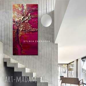 ręcznie zrobione dekoracje promienna fuksja obrazy do salonu nowoczesnego