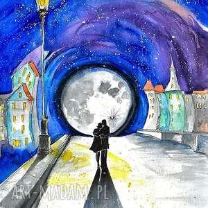 W ŚWIETLE LATARNI akwarela artystki plastyka Adriany Laube - zakochani, miłość