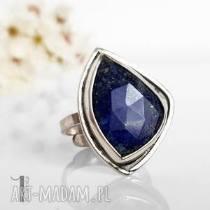 scilla - srebrny pierścionek z lapis - lazuli - srebrne, regulowany