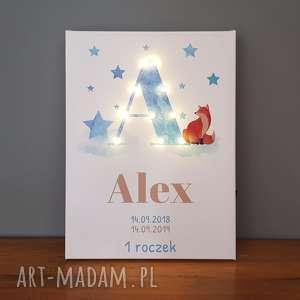 świecąca litera led personalizowany obraz metryczka prezent na narodziny urodziny