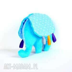 słonik trąbalski - przytulanka, sensoryczna, niemowlę, słonik, metki