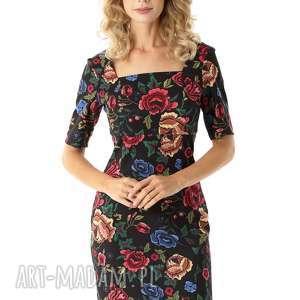 sukienki dopasowana sukienka z kwadratowym dekoltem roxie czarna w kwiaty