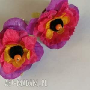 klipsy kwiatowe duże lekkie handmade, klipsy, kwiaty, lekkie, etno, boho, kolorowe