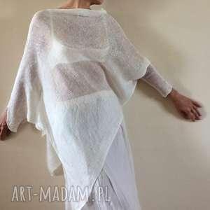 oryginalna asymetryczna lniana bluzka, sweter, dzianina