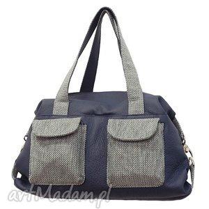 09-0002 granatowa torba sportowa / torebka fitness tit, modne, torebki, damskie