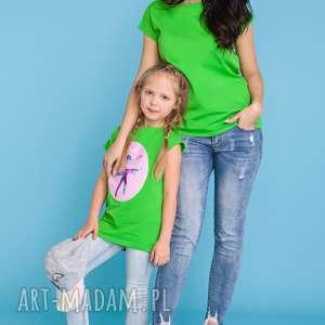 KOMPLET DLA MAMY I CÓRKI, bluzka letnia z aplikacją lub gładka, zielony,