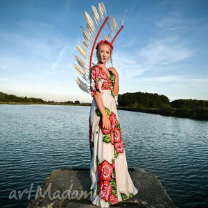 magdalena patria flower- sukienka maxi z kwiatowym printem, ślubna, kwiaty, jersey