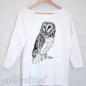 koszulki sowa bluzka bawełniana oversize s m biała, koszulka, bluazka