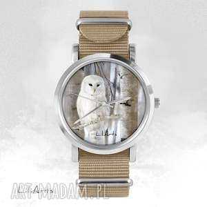 handmade zegarki zegarek, bransoletka - biała sowa - beżowy, nato