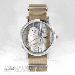Prezent Zegarek, bransoletka - Biała sowa beżowy, nato, zegarek, bransoletka, nato
