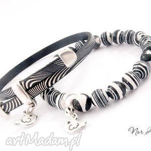bransoletka - zebra, komplet, malachit, skóra