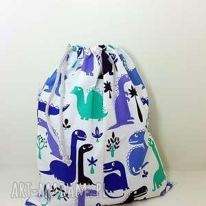 dla dziecka worek na buty dinozaury niebieskie, worek, buty, kapcie, szkoła