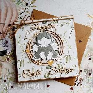 hand-made scrapbooking kartki kartka chrzest święty z aniołem