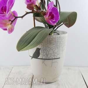 Wazon/osłonka na storczyk Jaskółki Raku, storczyk, kwiat, kwiaty, doniczka