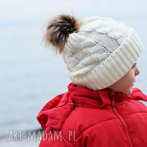 czapka zimowa z pomponem, na zimę, ciepła biała, zimę