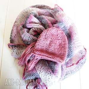 hand made dla dziecka zestaw do sesji nb różowe ombre ii kocyk czapeczka