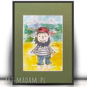 handmade pokoik dziecka obrazek z piratem, akwarela dla chłopca, ilustracja pirat