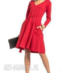 rozkloszowana sukienka z dekoltem v, t323, czerwona, elegancka, sukienka, góra