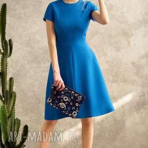 SUKIENKA BLUE VOYAGE, sukienka, niebieska, rozkloszowana, wiązana, elegancka, midi
