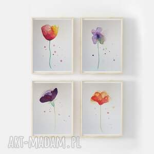 paulina lebida kwiaty-cztery akwarele każda formatu 18/24 cm, kwiaty, papier