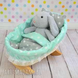 Wiklinowa kołyska dla lalek - mięta, kołyska, lalka, łóżko, wiklinowa, retro, mięta