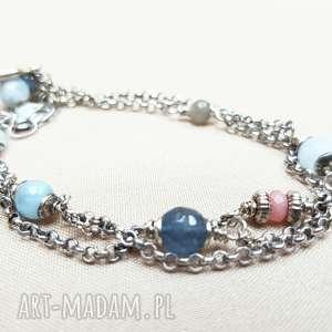 Bransoletka ze srebra i pastelowych kamieni, srebro, oksydowane, tilia, kobieca