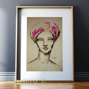 Gemma - rysunek pastelami suchymi, węglem i ecoliną, rysunek, portret, unikat, radzka