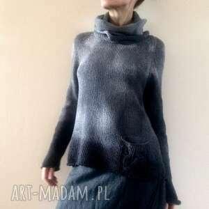 ręcznie barwiona dzianinowa bluzka jedwabno wełniana, sweter, bluzka, dzianina