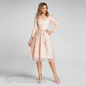 sukienki sukienka daria midi kamelia róż, koronka, koronkowa sukienka, różowa