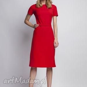 Sukienka z krótkim rękawem, SUK128 czerwony, czerwona, romantyczna, prosta, pasek