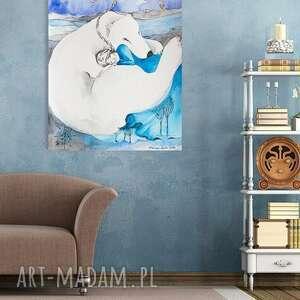 POLARNY SEN obraz na w 100% bawełnianym płótnie 100x70cm artystki A. Laube, wydruk