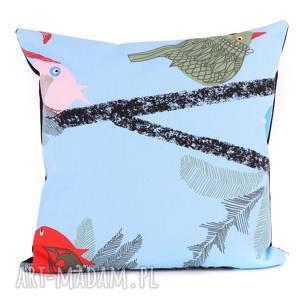 hand-made poduszki ptasia poduszka 40x40cm - chowające się ptaszki
