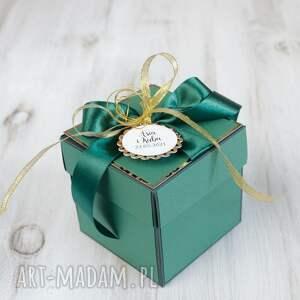 kartka-pudełko na ślub - butelkowa zieleń, kartka, ślub, prezent, pudelko
