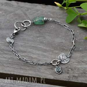 Surowe szkło antyczne srebrna bransoletka z zawieszką grey line